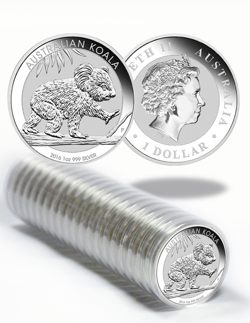 Roll of 20 - 2016-P Australia 1 oz Silver Koala $1 GEM BU