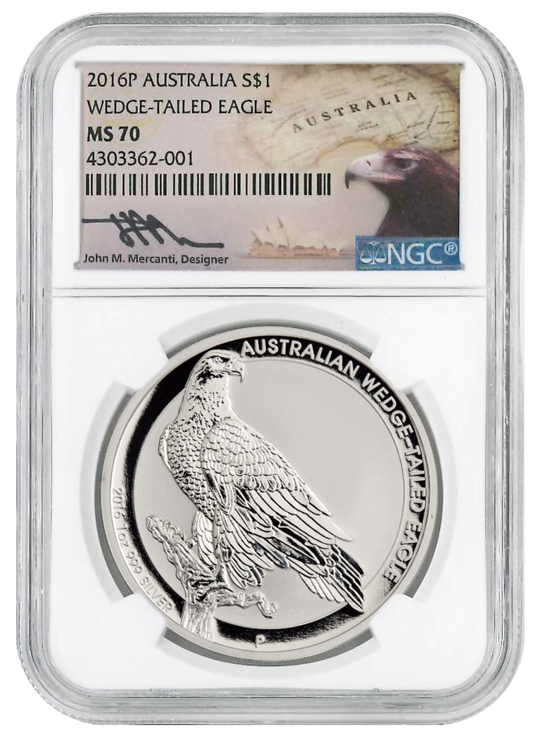 2016-P Australia 1 oz Silver Wedge-Tailed Eagle $1 NGC MS70 (Mercanti Signed Label)