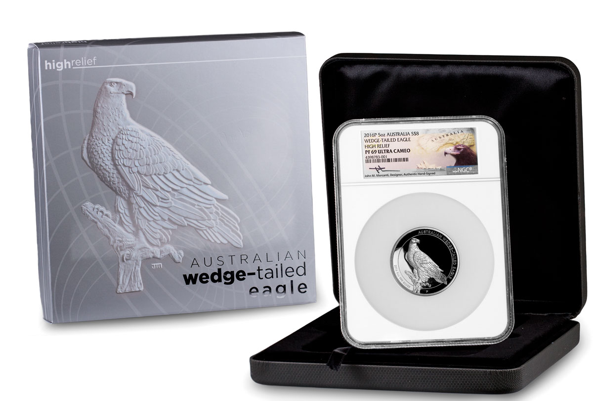 2016 Australia 5 oz High Relief Silver Wedge-Tailed Eagle Proof $8 NGC PF69 UC Mercanti Signed Label