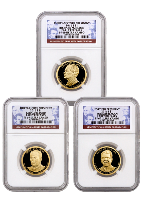 2016-S Proof Presidential Dollar Set of 3 Coins - NGC PF69 UC Early Releases