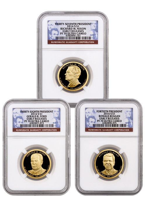 2016-S Proof Presidential Dollar - Set of 3 Coins - NGC PF70 UC Early Releases