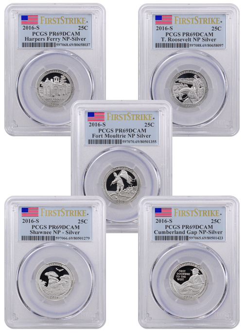 2016-S Proof Silver America the Beautiful - Set of 5 Coins - PCGS PR69 DCAM First Strike