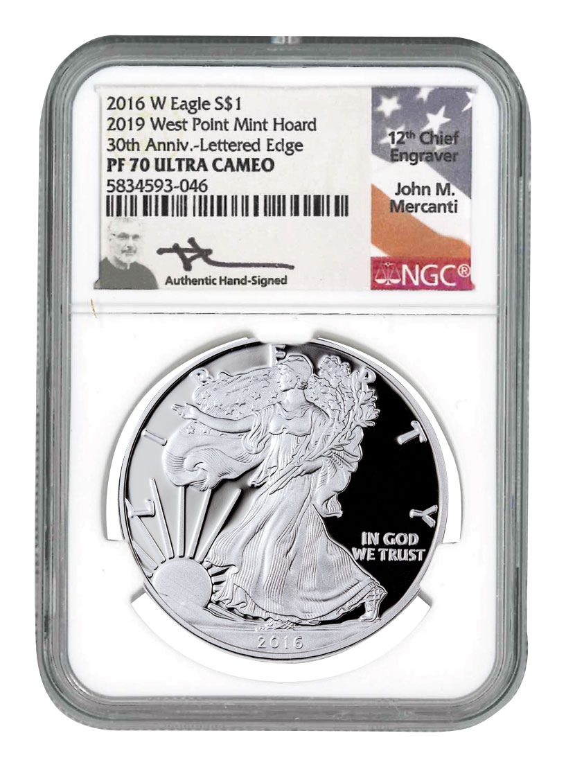 2016-W 1 oz Proof American Silver Eagle 30th Anniversary West Point Mint Hoard NGC PF70 UC Mercanti Signed Label