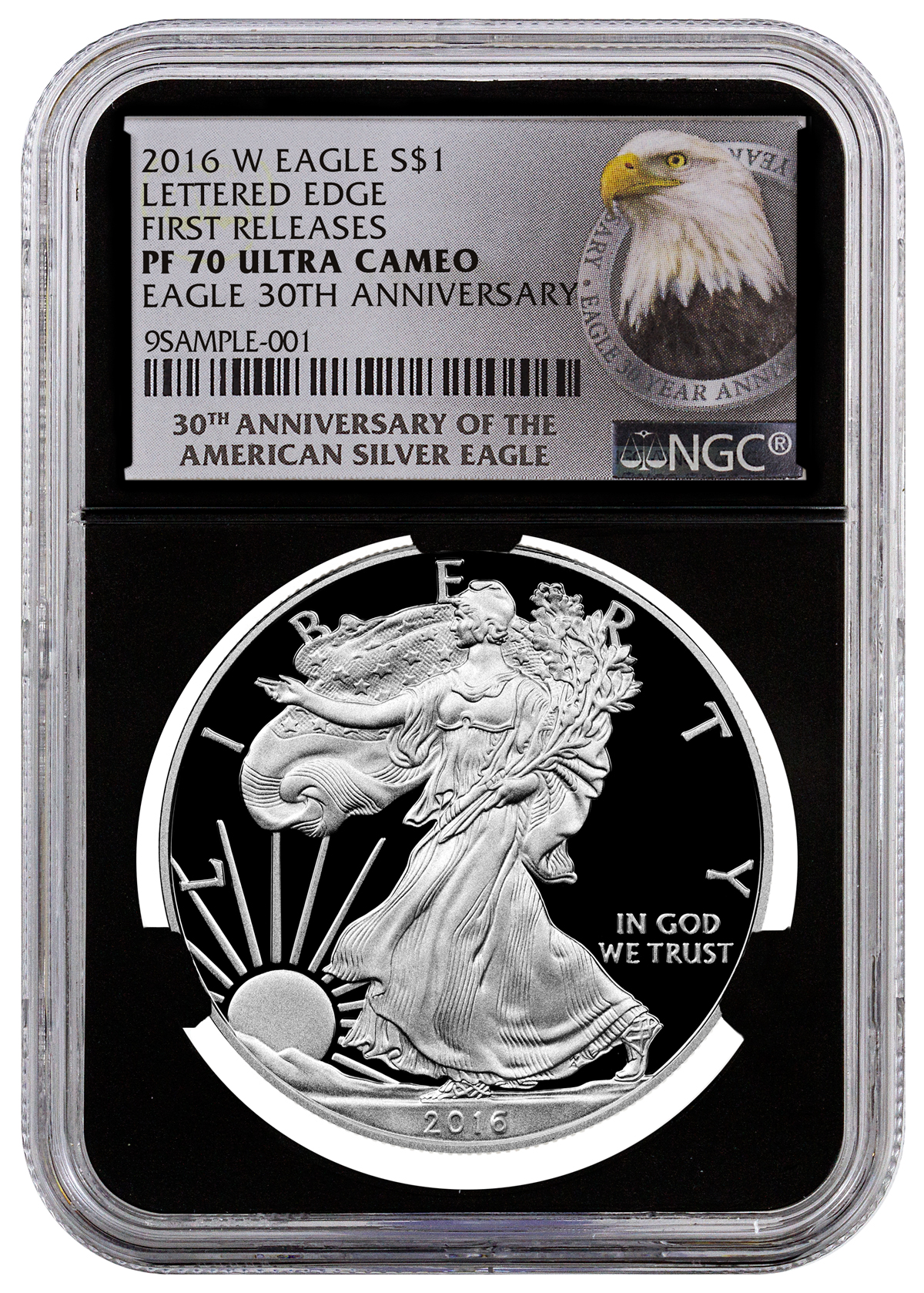2016-W Proof American Silver Eagle NGC PF70 UC FR (Black Core Holder 30th Anniversary Label)