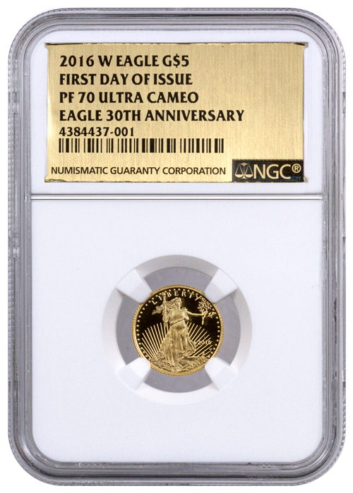 2016-W $5 1/10 oz. Proof American Gold Eagle - NGC PF70 UC (First Day of Issue - Gold Foil Label)