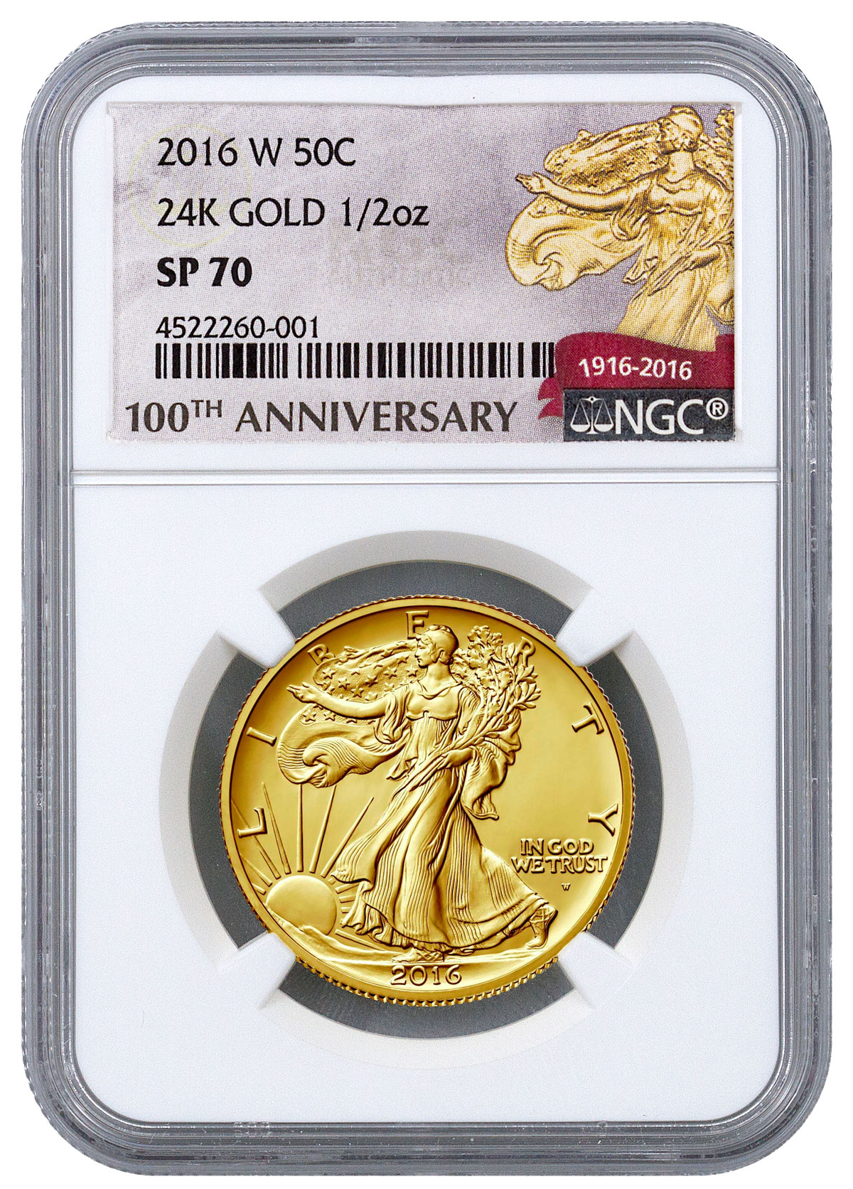 2016-W 1/2 oz Gold Walking Liberty Half Dollar Centennial NGC SP70 (100th Anniversary Label)