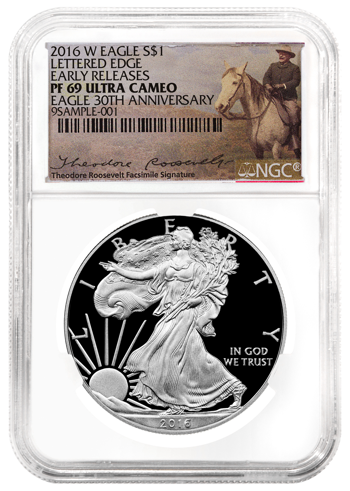 2016-W Proof American Silver Eagle NGC PF69 UC ER (Theodore Roosevelt Label)