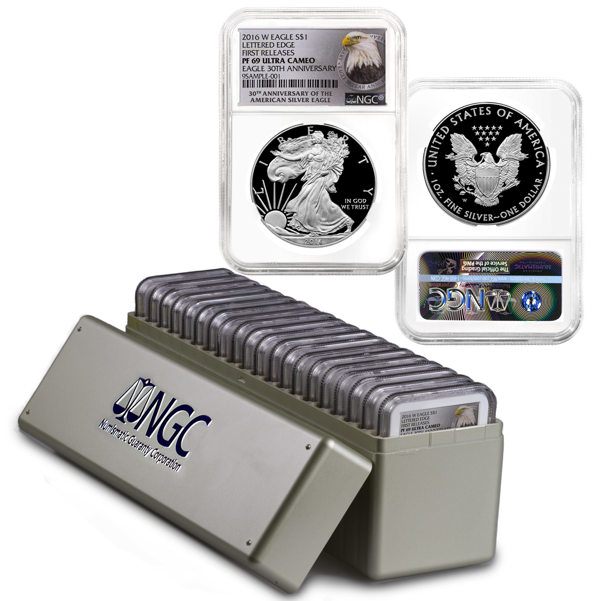 2016-W Proof American Silver Eagle - Box of 20 - NGC PF69 UC First Releases (30th Anniversary Label)