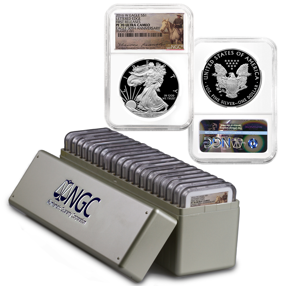 2016-W Proof American Silver Eagle - Box of 20 - NGC PF70 UC First Releases (Theodore Roosevelt Label)