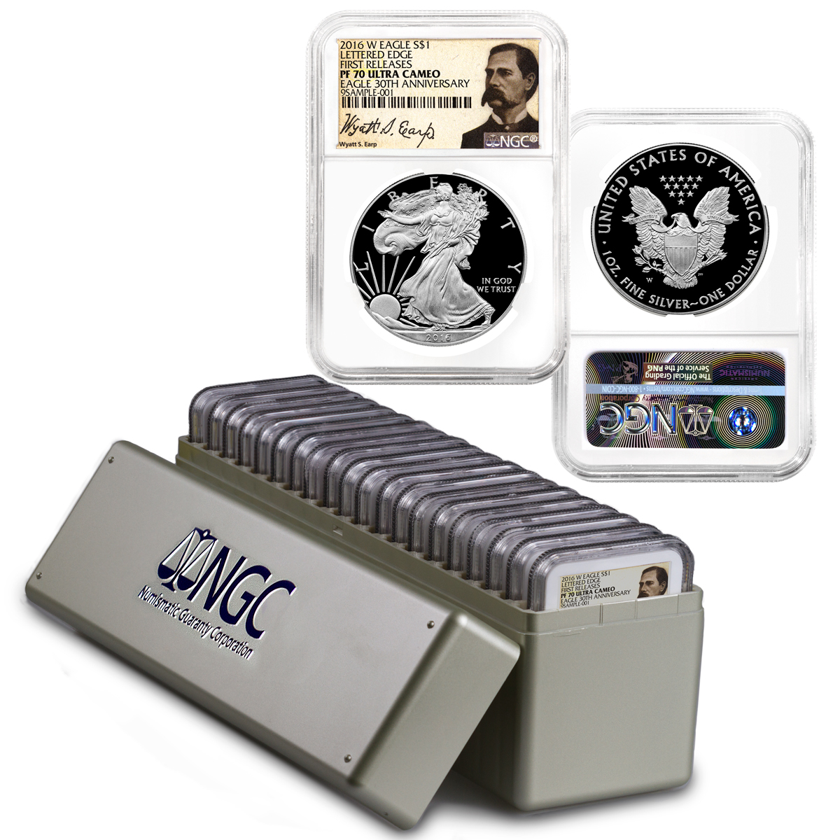 2016-W Proof American Silver Eagle - NGC PF70 UC First Releases (Wyatt Earp Label) Box of 20