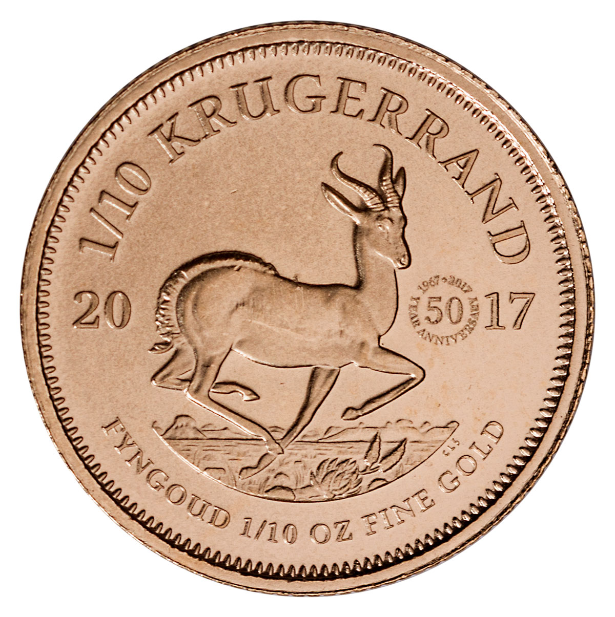2017 South Africa 1/10 oz Gold Krugerrand - 50th Anniversary Privy Coin BU