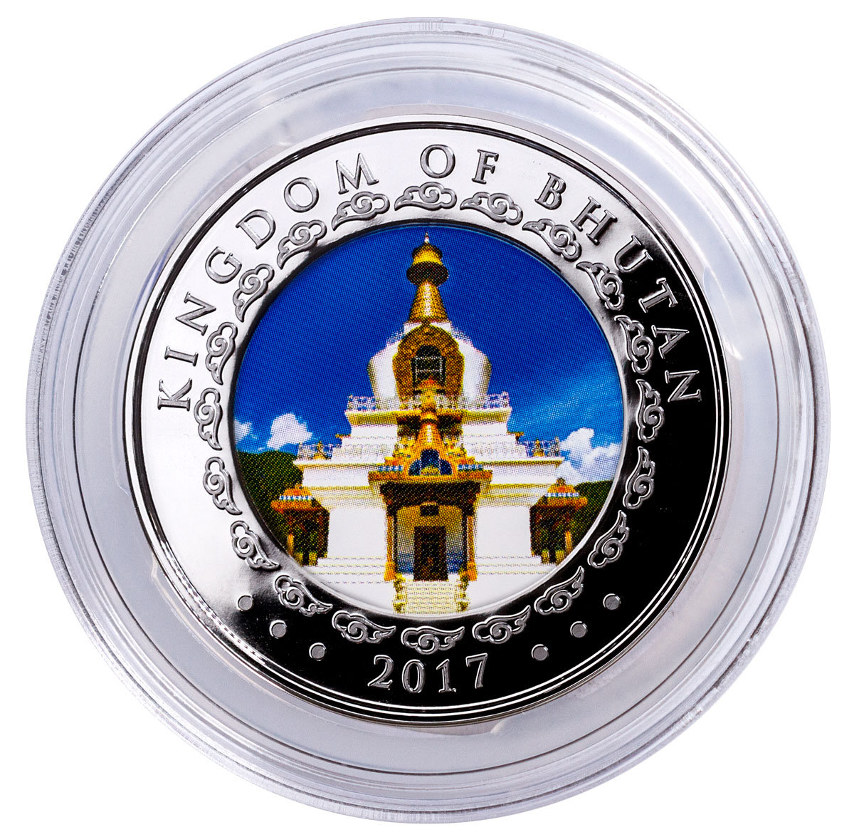 2017 Kingdom of Bhutan 5 oz Ultra High Relief Silver Lunar - Rooster Colorized Proof 1,000 Coin GEM Proof OGP