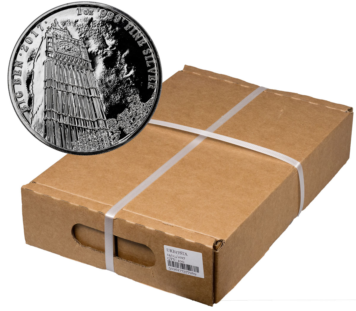 Monster Box of 100 - 2017 Great Britain Landmarks of Britain - Big Ben 1 oz Silver £2 Coins GEM BU Original Mint Capsule