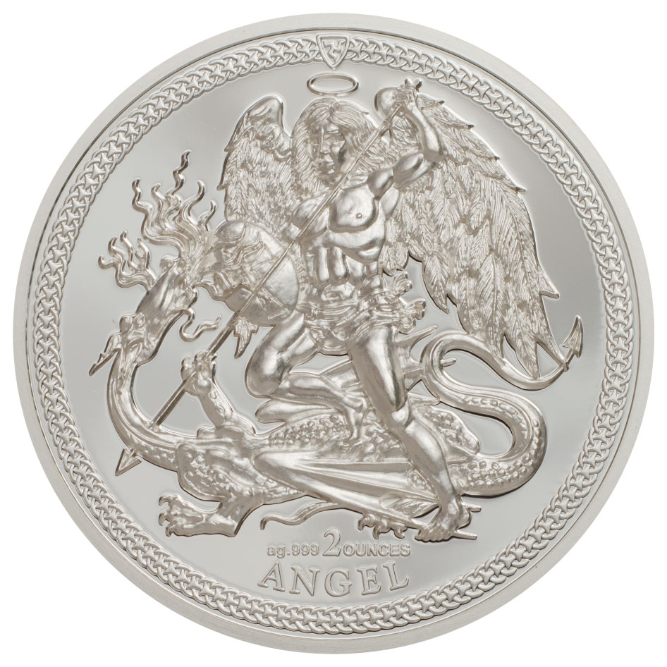 2017 Isle of Man 2 oz High Relief Silver Angel - Piedfort Proof Coin GEM Proof OGP