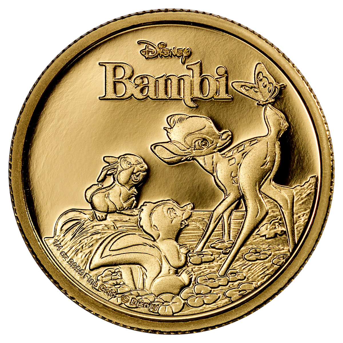 2017 Niue Iconic Disney - Bambi 75th Anniversary 1/4 oz Gold Proof $25 Coin GEM Proof OGP
