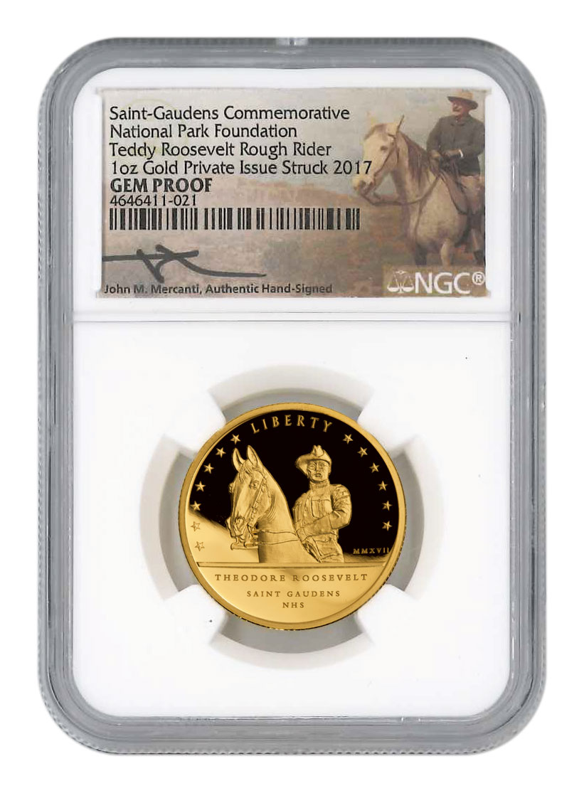2017 Teddy Roosevelt Rough Rider National Park 1 oz Gold Proof Medal Scarce and Unique Coin Division NGC GEM Proof Mercanti Signed Label