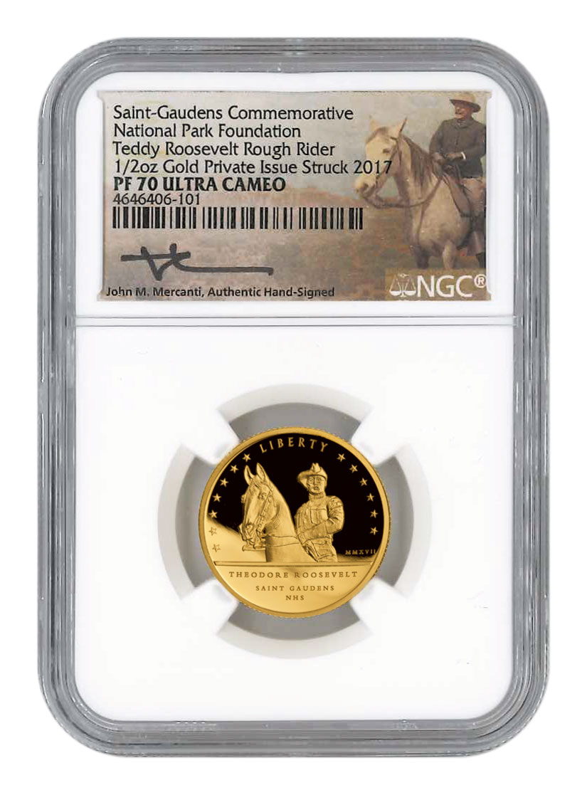 2017 Teddy Roosevelt 1/2 oz Gold Proof Medal Scarce and Unique Coin Division NGC PF70 Mercanti Signed Label