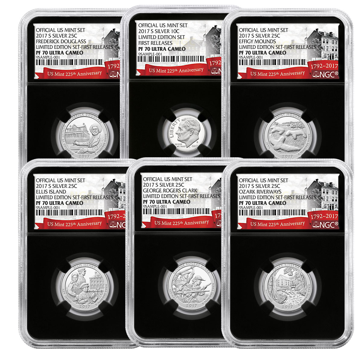 6-Coin Set - 2017-S U.S. Limited Edition Silver Proof Coins Set NGC PF70 UC FR Black Core Holder Exclusive U.S. Mint 225th Anniversary Label