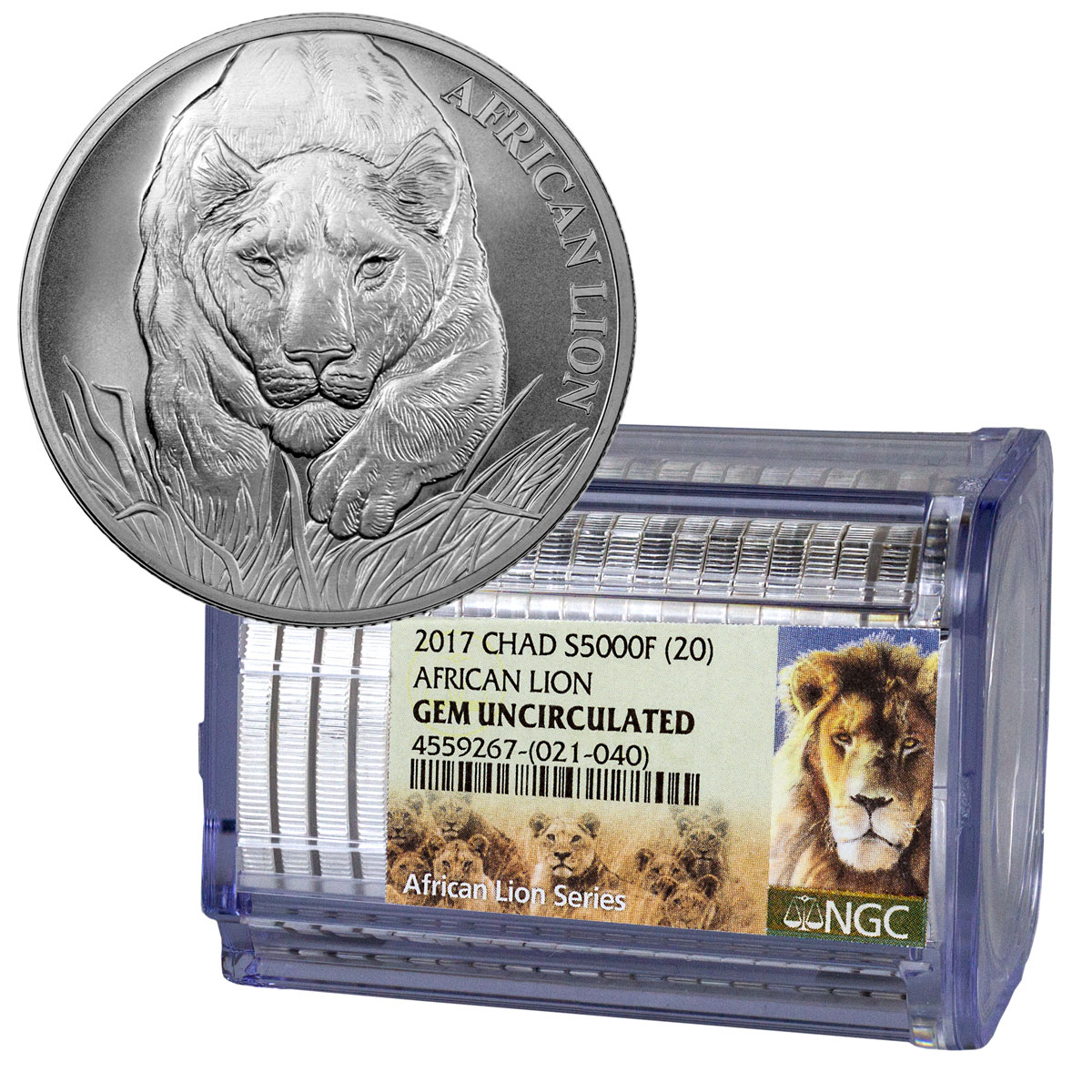 Certified Roll of 20 - 2017 Republic of Chad African Lion - 1 oz Silver 5000 Franc Coins NGC GEM Uncirculated Exclusive Lion Label