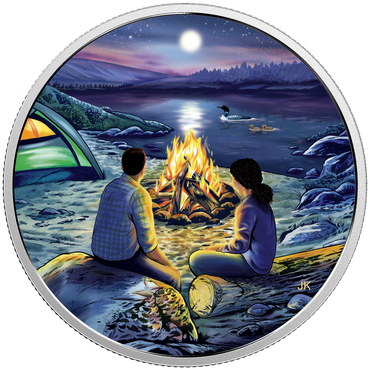 2017 Canada Great Canadian Outdoors - Around the Campfire 3/4 oz Silver Colorized Glow in the Dark Proof $15 Coin GEM Proof OGP