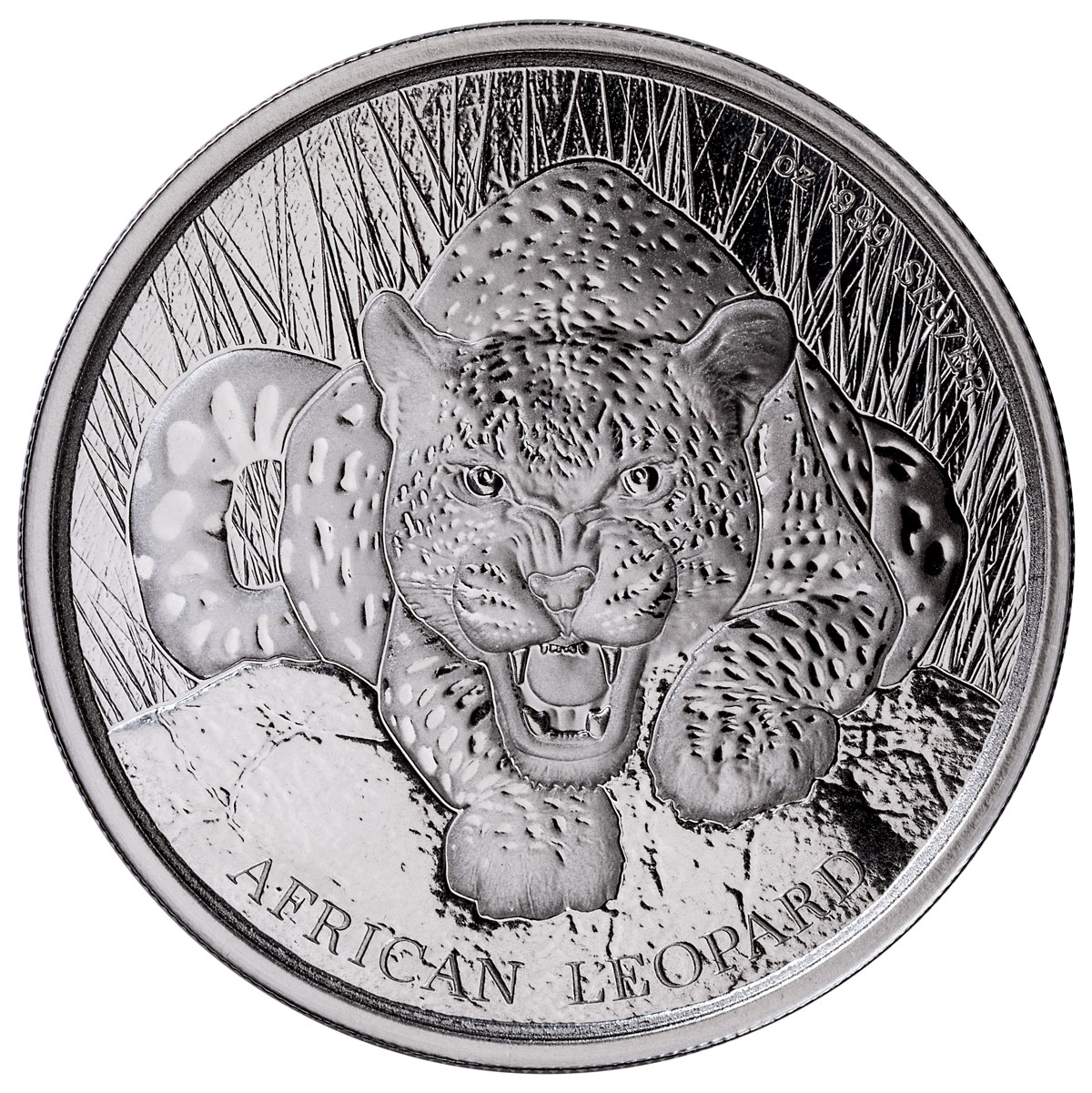 2017 Republic of Ghana 1 oz Silver African Leopard Coin GEM BU