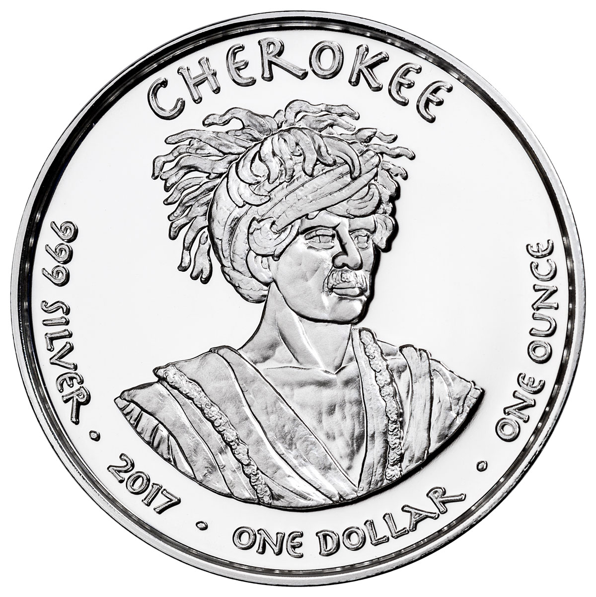 2017 Native American Silver Dollar - Georgia Cherokee - Otter 1 oz Silver Proof Coin GEM Proof Original Mint Capsule
