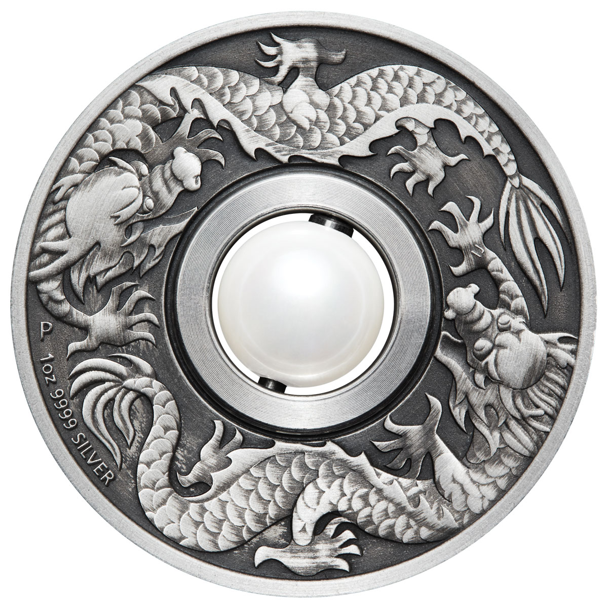 2017 Australia 1 oz Silver Dragon & Pearl Antiqued $1 Coin GEM BU