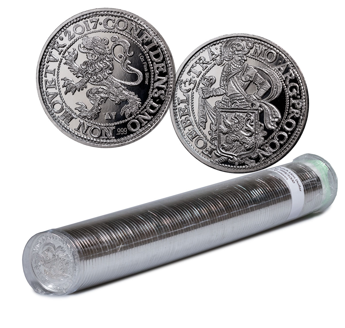 Roll of 100 - 2017 Netherlands Restrike Silver 1 New York Lion Dollar