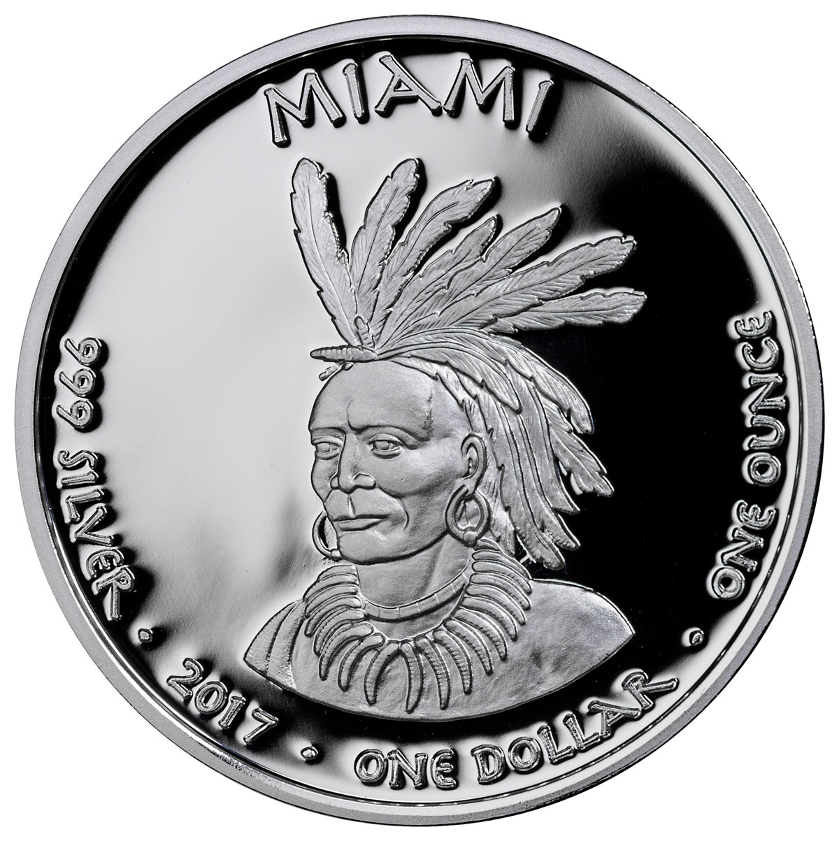 2017 Native American Silver Dollar - Indiana Miami - Mink 1 oz Silver Proof Coin GEM Proof Original Mint Capsule