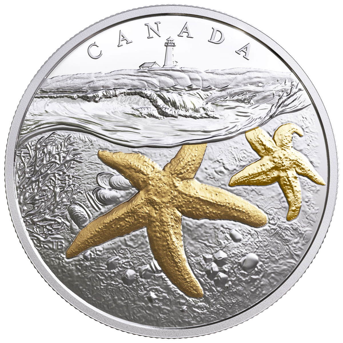 2017 Canada From Sea to Sea - Atlantic Starfish 1 oz Silver Gilt Proof $20 Coin GEM Proof