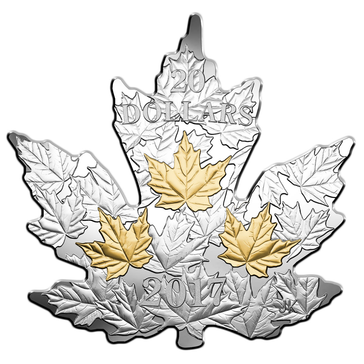 2017 Canada Maple Leaf Shaped 1 oz Silver Gilt Proof $20 Coin GEM Proof OGP