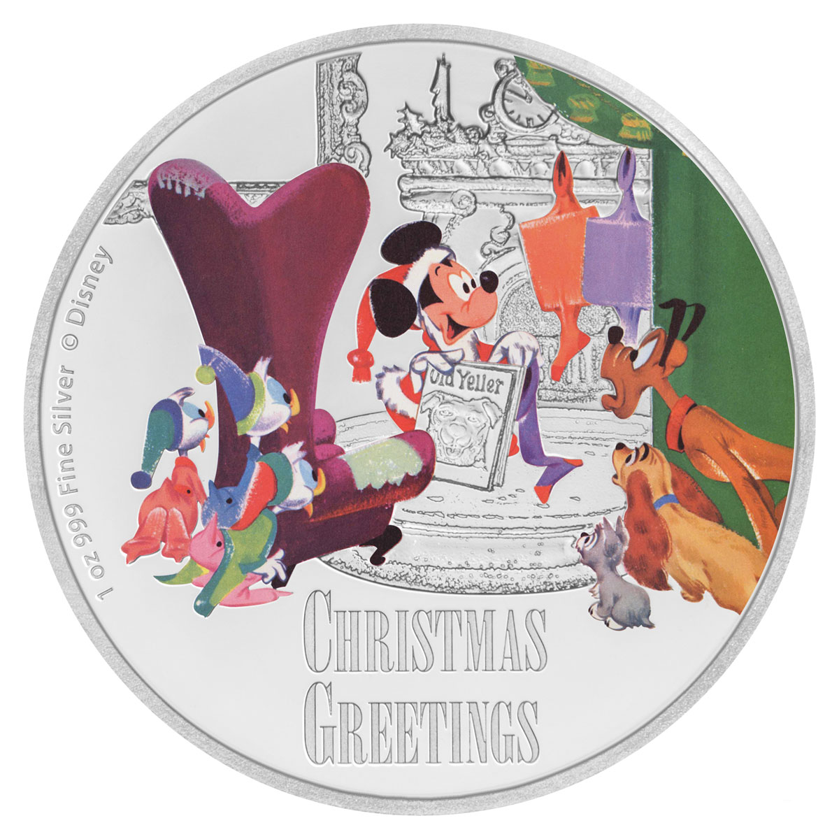 2017 Niue Disney Season's Greetings 1 oz Silver Colorized Proof $2 Coin GEM Proof OGP