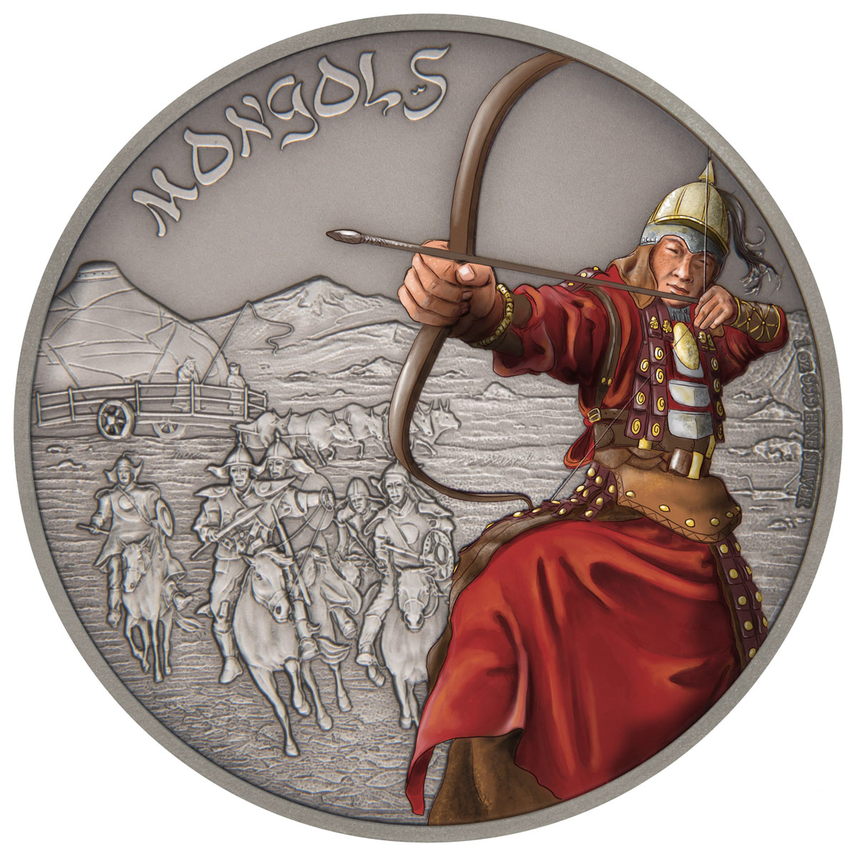 2017 Niue Warriors of History - Mongols 1 oz Silver Antiqued Colorized Proof $2 Coin GEM Proof OGP