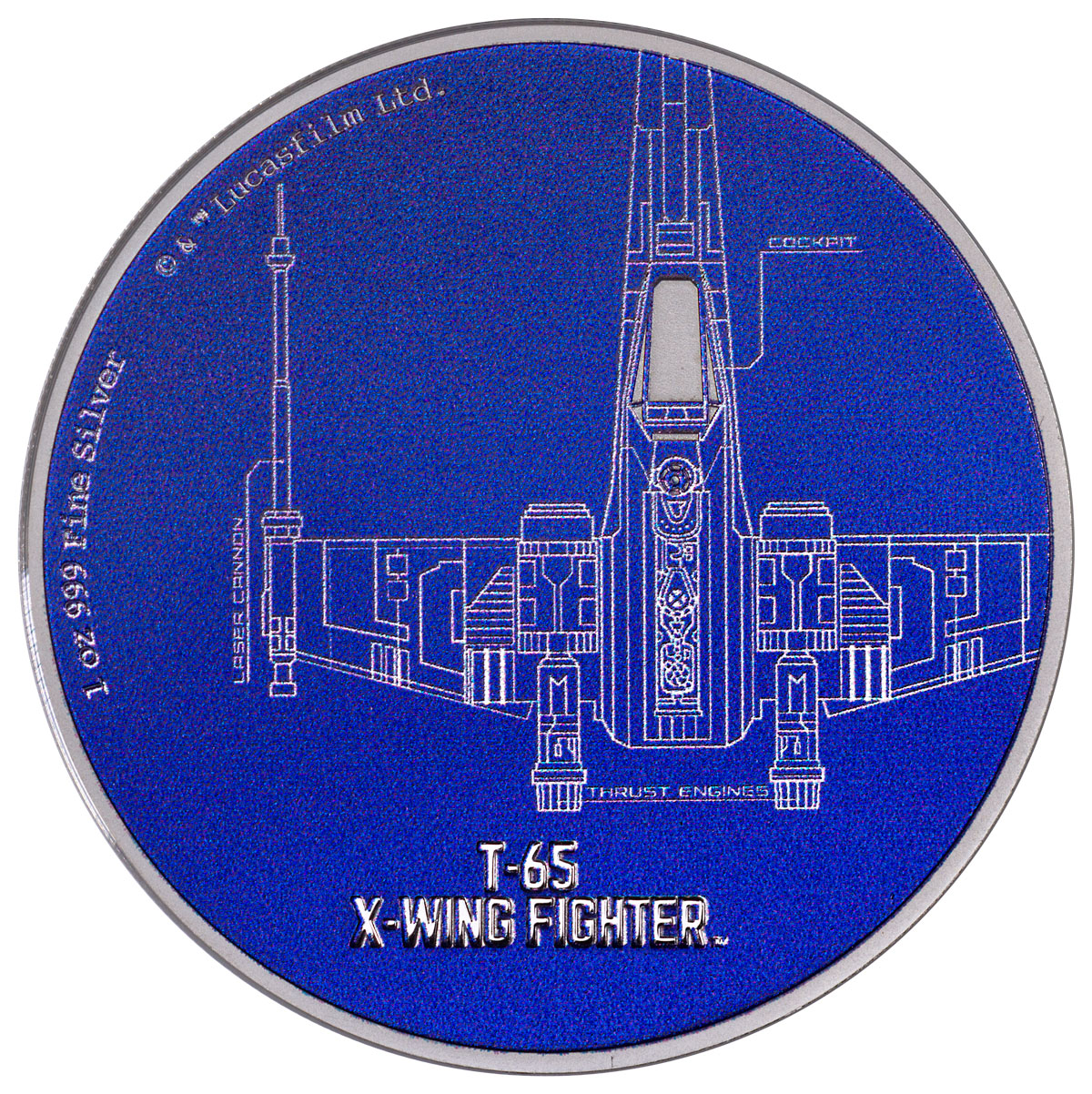 2017 Niue Star Wars Ships - T-65 X-Wing Fighter 1 oz Silver Colorized Proof $2 Coin GEM Proof OGP