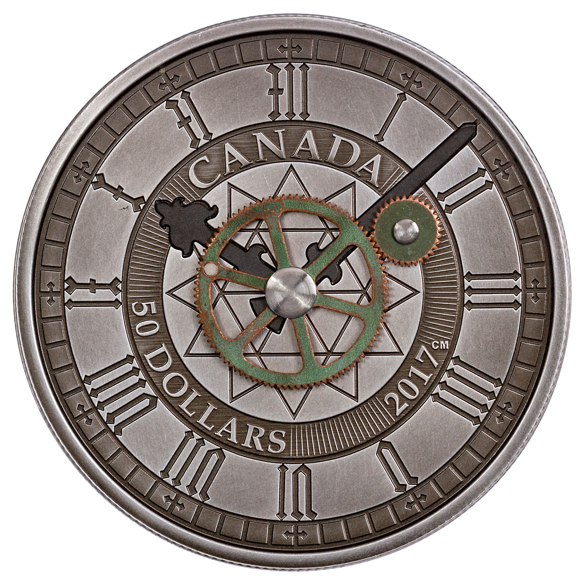 2017 Canada Peace Tower Clock 90th Anniversary - 5 oz Silver Antiqued $50 Coin GEM Proof OGP