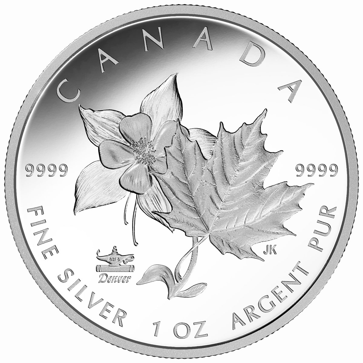 2017 Canada ANA State Flowers - Maple Leaf & Columbine Denver ANA Privy 1 oz Silver Proof $5 Coin GEM Proof OGP