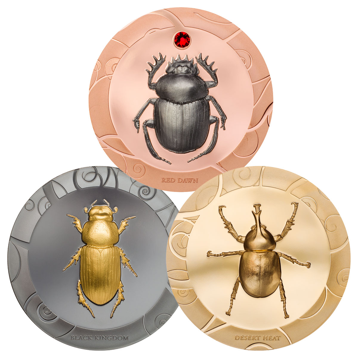 2017 Cook Islands Scarab Beetle Selection 3-Coin Set I High Relief 1 oz Silver Gilt Proof $5 Coin GEM Proof OGP