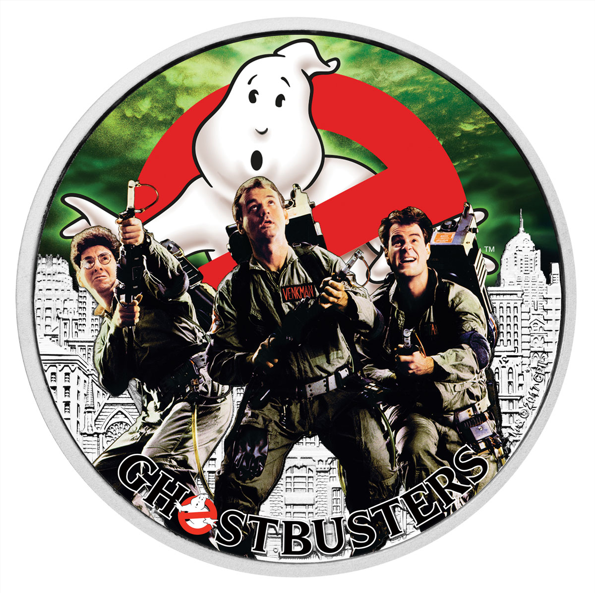 2017 Tuvalu Ghostbusters - Crew 1 oz Silver Colorized $1 Coin GEM BU OGP