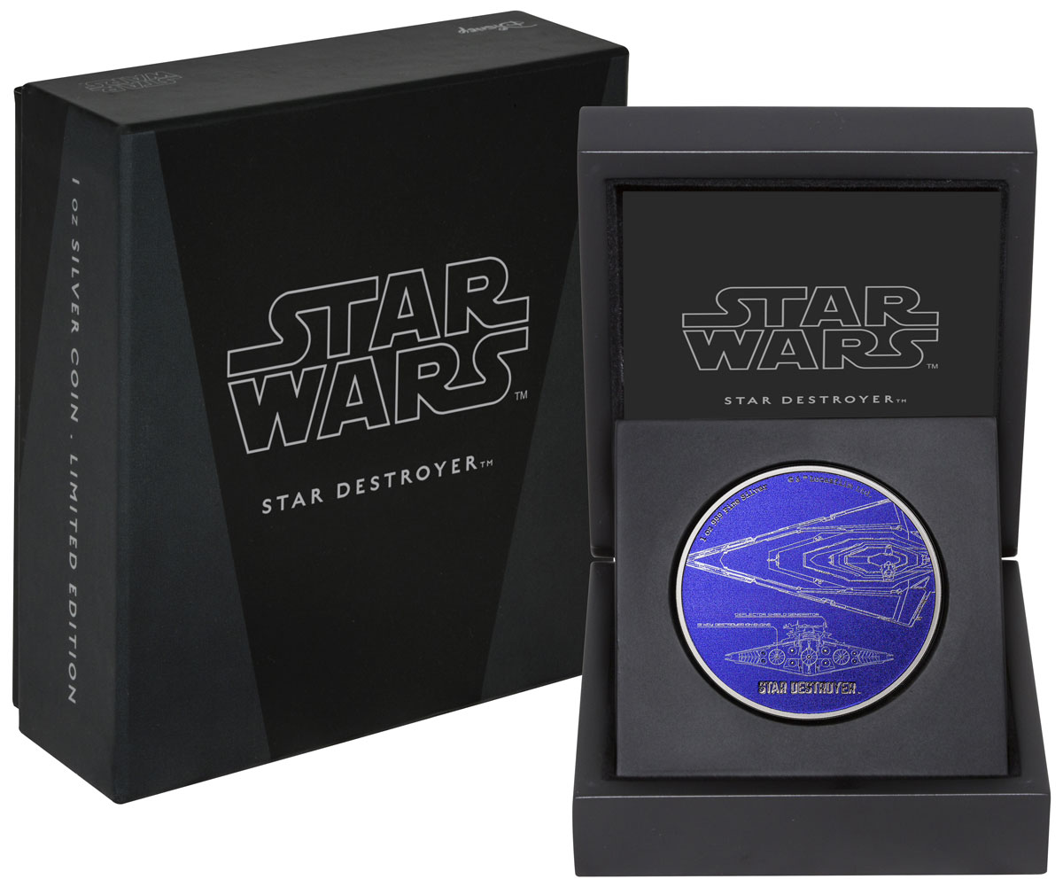 2017 Niue Star Wars Ships - Star Destroyer 1 oz Silver Colorized Proof $2 Coin GEM Proof OGP