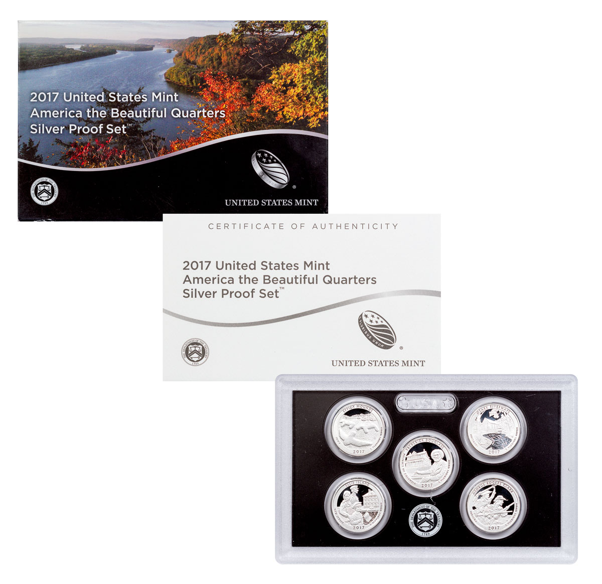 2017-S U.S. America the Beautiful Silver Proof Quarter Set GEM Proof OGP