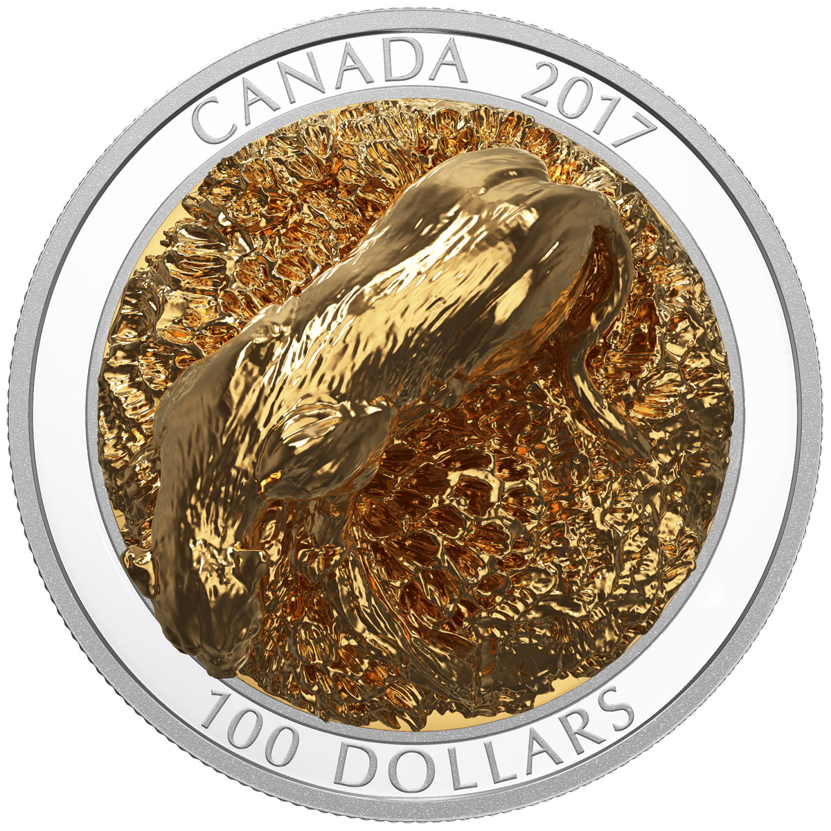 2016 canada 100 10 oz gold plated proof silver sculpture of
