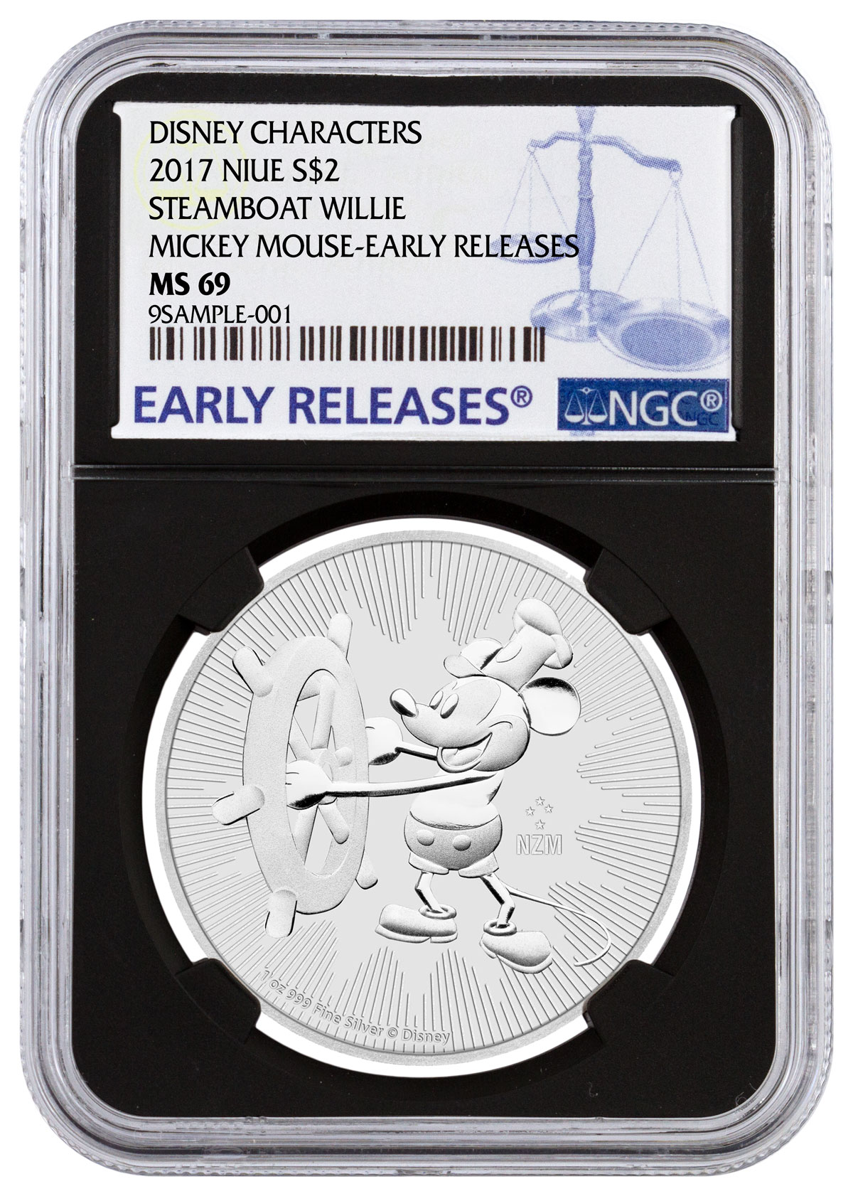 2017 Niue Disney Classics - Mickey Mouse Steamboat Willie 1 oz Silver $2 Coin NGC MS69 ER Black Core Holder