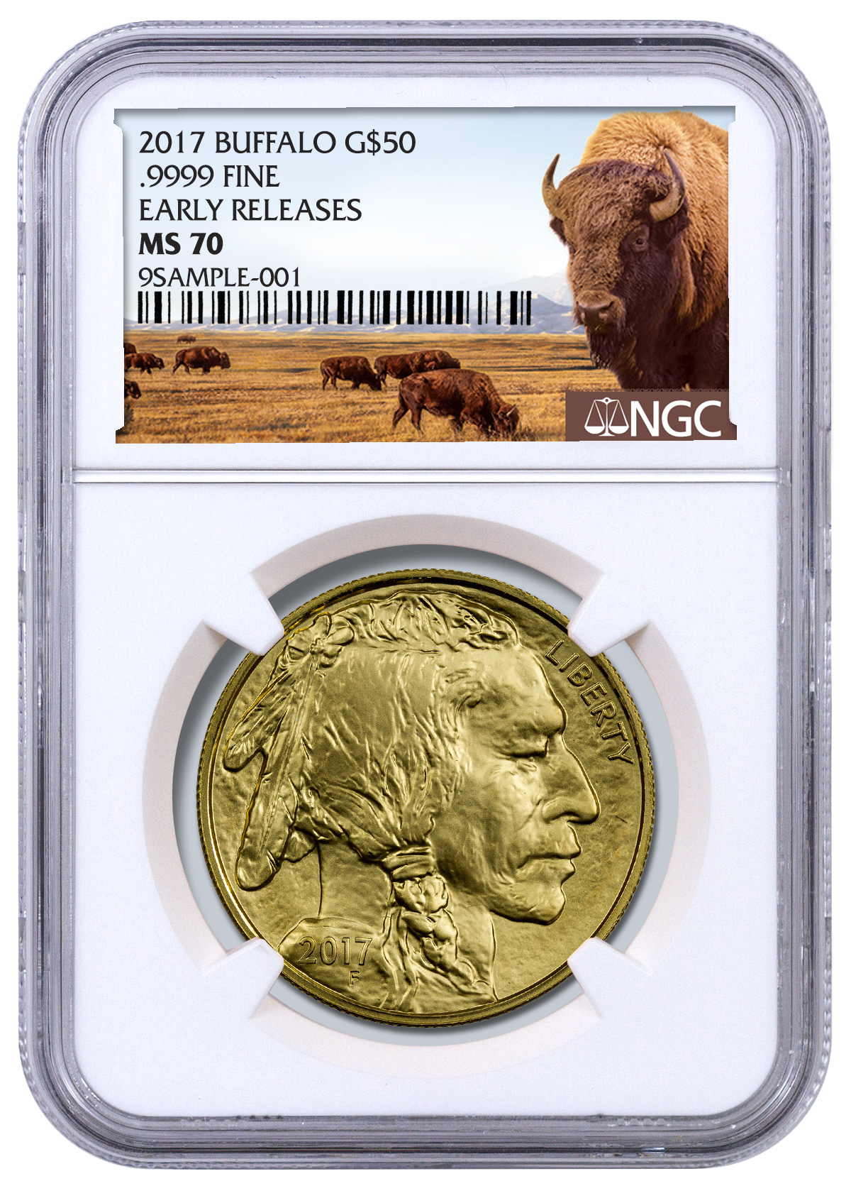 2017 1 Oz Gold Buffalo 50 Coin Ngc Ms70 Er Buffalo Label