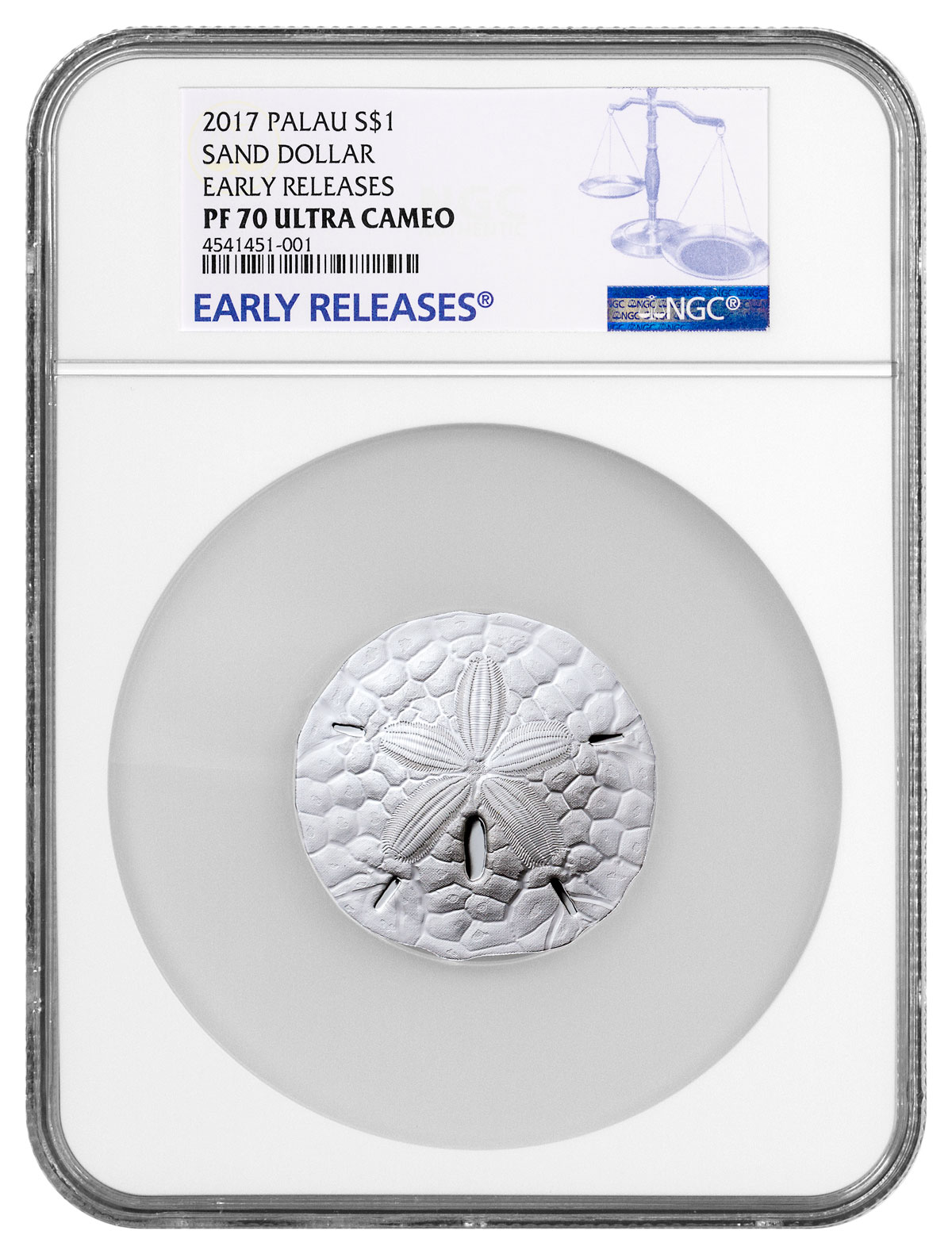 2017 Palau Sand Dollar 1 oz Silver Proof $1 Coin NGC PF70 UC ER