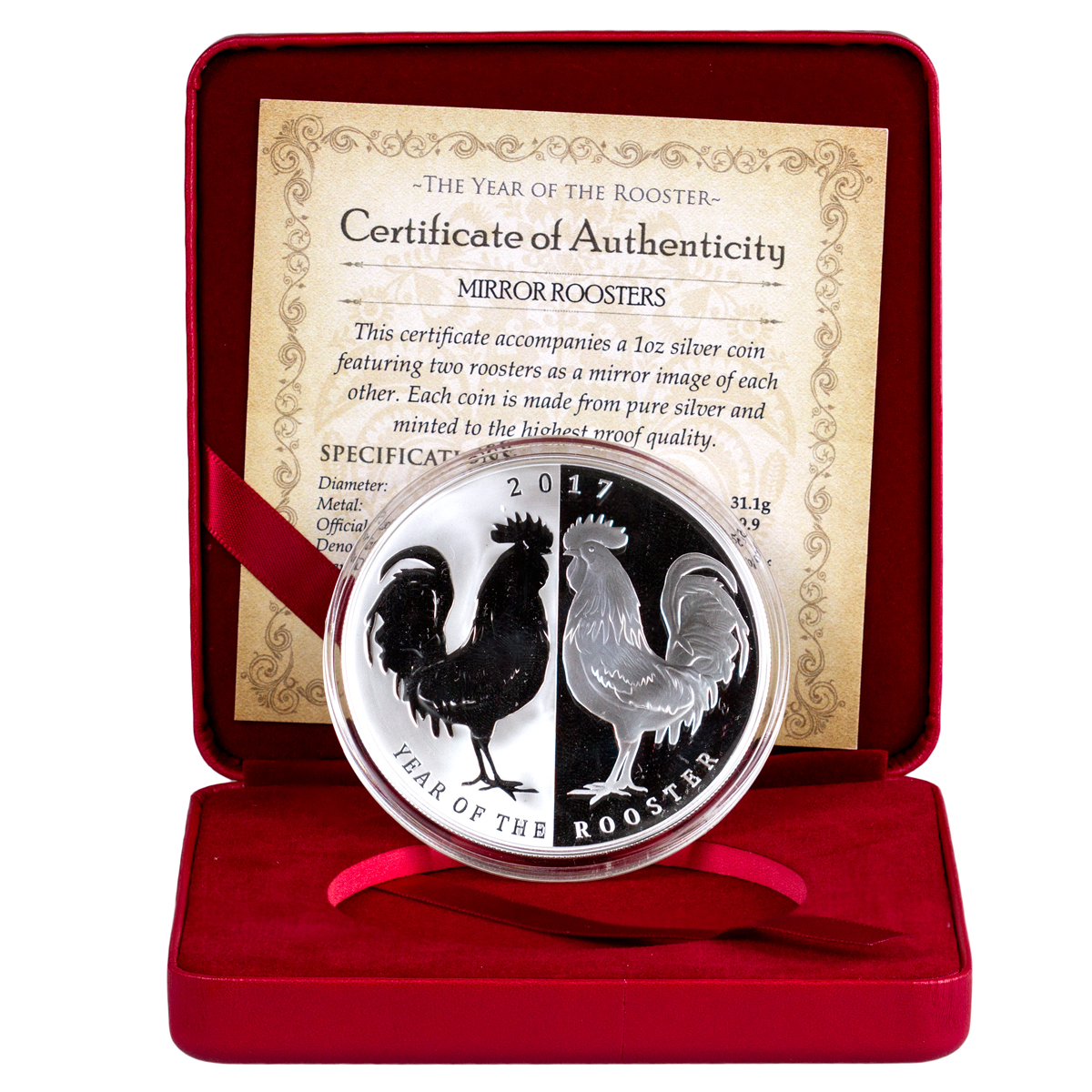 2017 Tokelau Year of the Rooster - Mirror Roosters 1 oz Silver Lunar Proof $5 Coin GEM Proof OGP