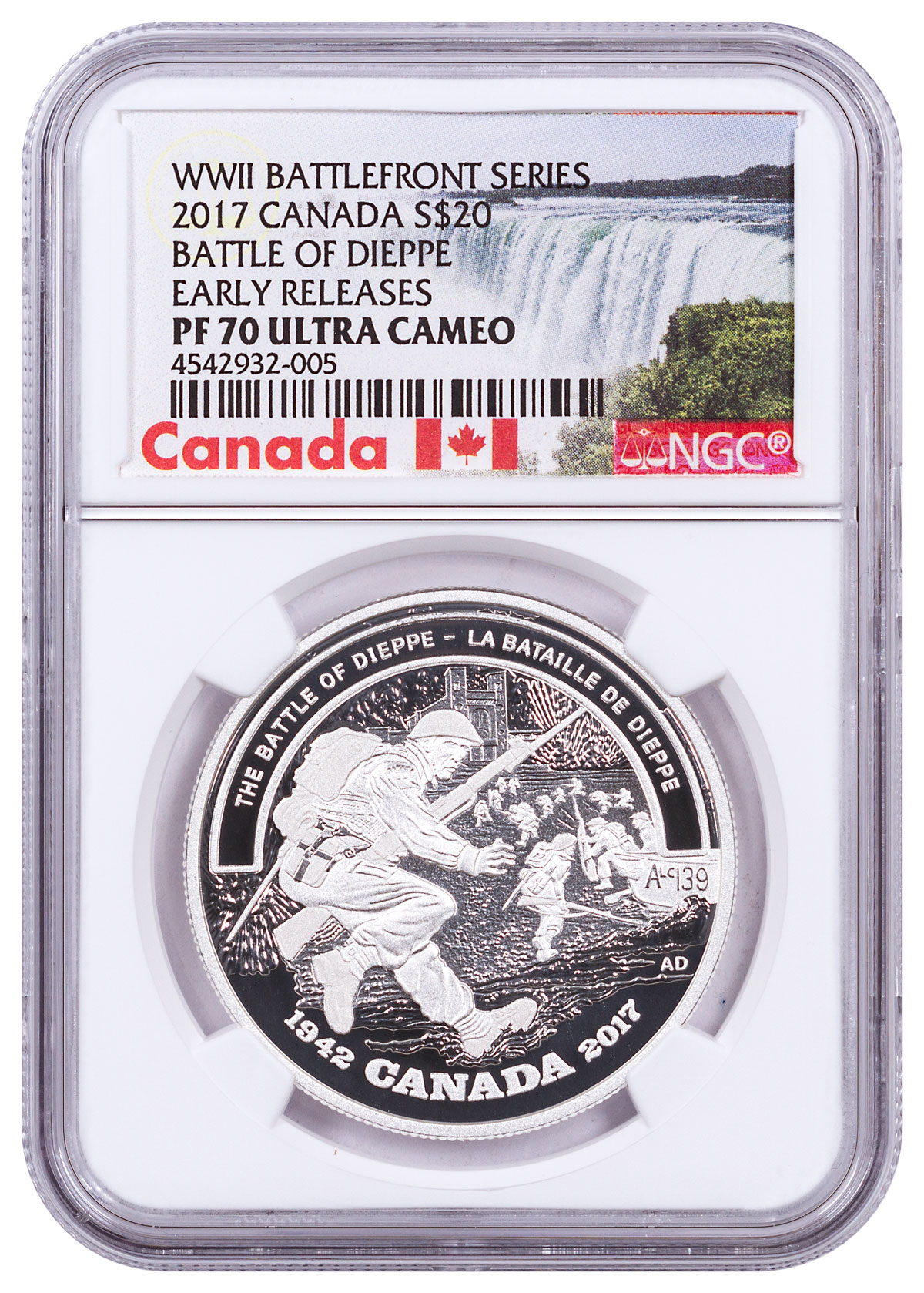 2017 Canada WWII Battlefront - Battle of Dieppe 1 oz Silver Proof $20 Coin NGC PF70 UC ER (Exclusive Canada Label)