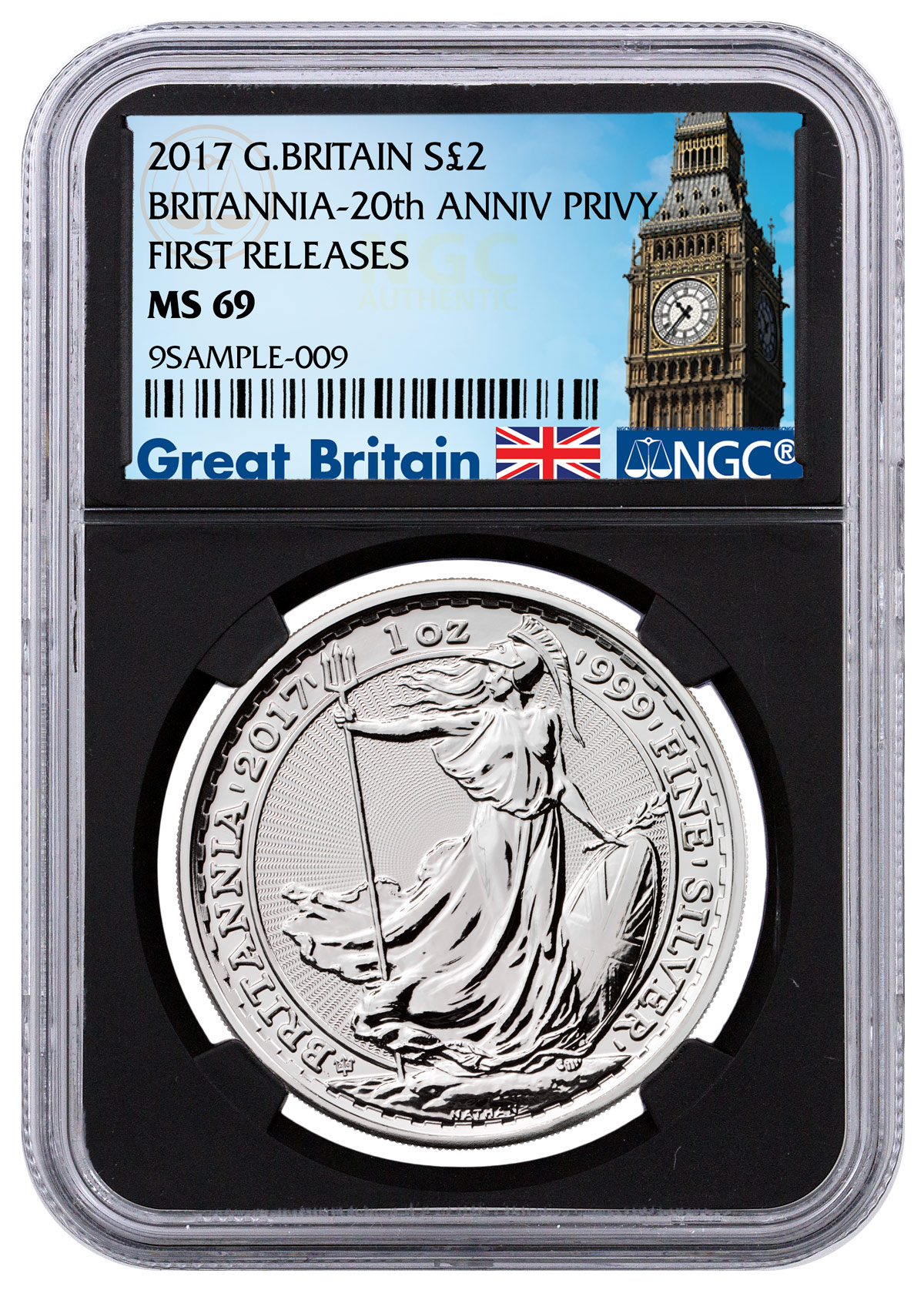 2017 Great Britain 1 oz Silver Britannia - 20th Anniversary Trident Privy £2 Coin NGC MS69 FR (Black Core Holder - Exclusive Great Britain Label)