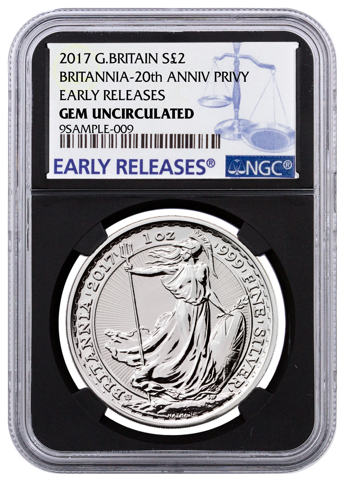 2017 Great Britain 1 oz Silver Britannia - 20th Anniversary Trident Privy £2 NGC GEM Uncirculated ER ER (Black Core Holder)
