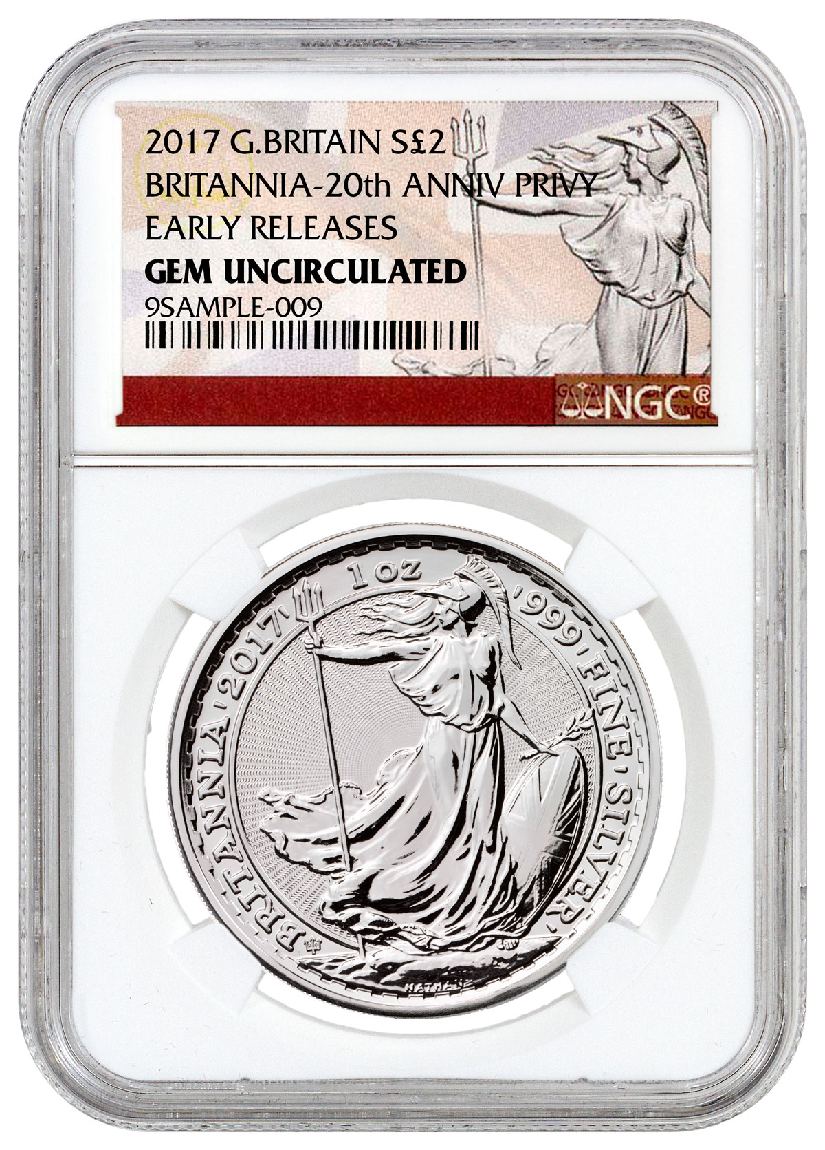 2017 Great Britain 1 oz Silver Britannia - 20th Anniversary Trident Privy £2 NGC GEM Uncirculated ER (Exclusive Britannia Label)