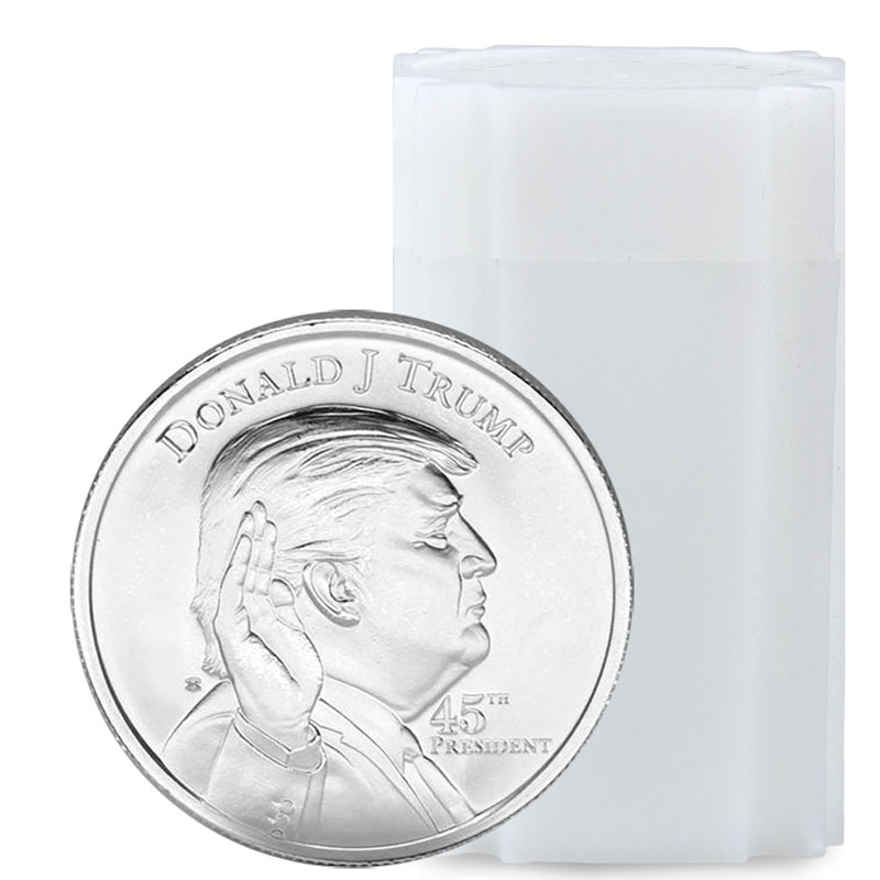 Roll Of 20 Donald Trump 1 Oz Silver Rounds Moderncoinmart